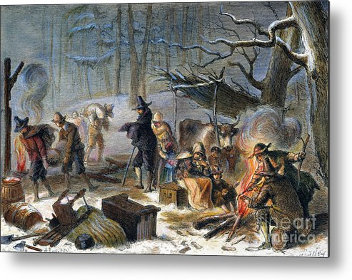 1620 Metal Print featuring the photograph Pilgrims: First Winter, 1620 by Granger