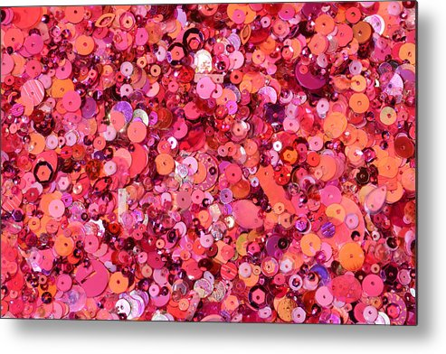 Horizontal Metal Print featuring the photograph Pink Sequins Of Various Shapes And Sizes by Andrew Paterson