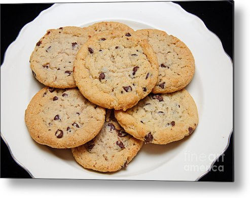 Fine Art Food Metal Print featuring the photograph Plate Of Chocolate Chip Cookies by Andee Design