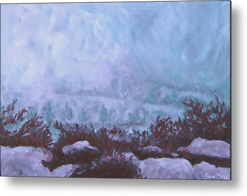 Landscape Metal Print featuring the painting Pogonip by Susan Moore