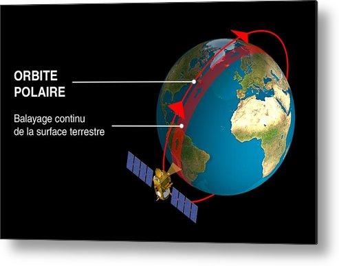 Earth Metal Print featuring the photograph Polar Orbit Diagram by David Ducros, Cnes