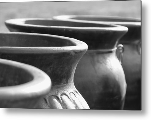 Terracotta Metal Print featuring the photograph Pots In Black And White by Kathy Clark