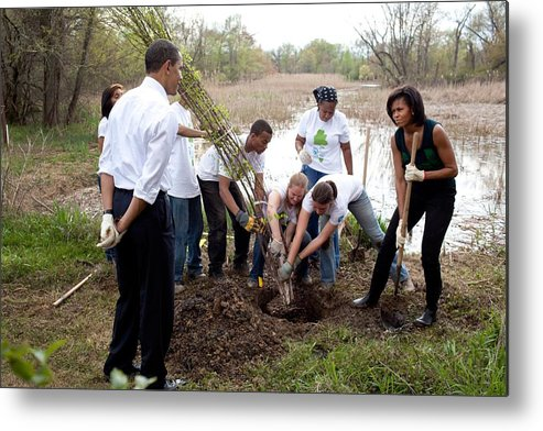 History Metal Print featuring the photograph President And Michelle Obama Help Plant by Everett