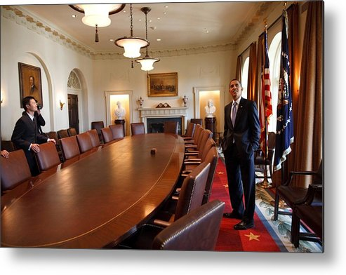 History Metal Print featuring the photograph President Obama Surveys The Cabinet by Everett