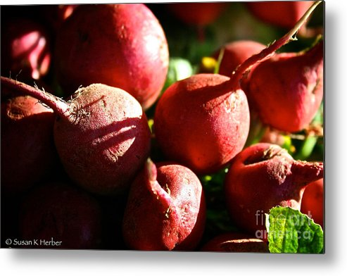 Food Metal Print featuring the photograph Radishes At Sunrise by Susan Herber