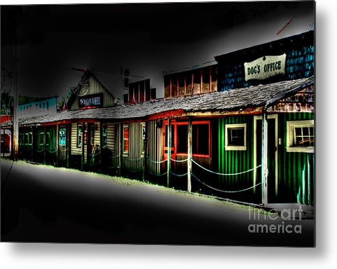 Tonemapped Metal Print featuring the photograph Ranch Buildings - Black by Mark Dodd
