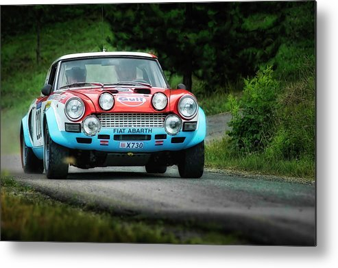Car Metal Print featuring the photograph Red And Blue Fiat Abarth by Alain De Maximy
