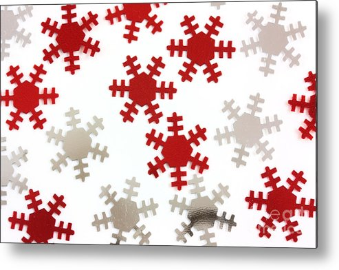 Background Metal Print featuring the photograph Red And Silver Snowflakes by Simon Bratt Photography LRPS