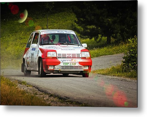 Car Metal Print featuring the photograph Red And White Renault 5 by Alain De Maximy