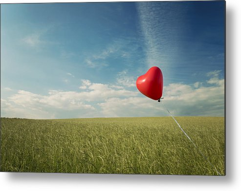 Horizontal Metal Print featuring the photograph Red Heart Balloon, Blue Sky And Fields by Image by Debbie Margetts - Ancora Imparo