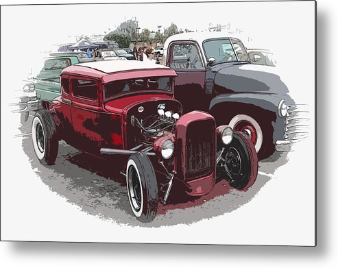 Model A Metal Print featuring the photograph Red Model A Coupe by Steve McKinzie