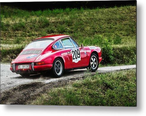 Car Metal Print featuring the photograph Red Porsche Running Away by Alain De Maximy