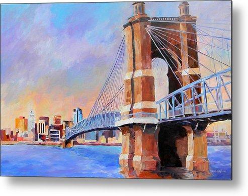 Bridge Metal Print featuring the painting Roebling Twilight by David Maynard