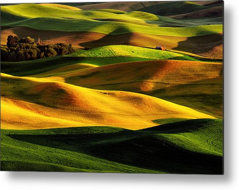 Horizontal Metal Print featuring the photograph Rolling Hills Of Palouse by Noppawat Tom Charoensinphon