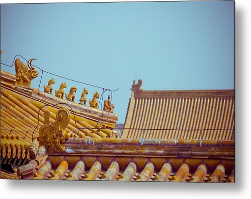 Horizontal Metal Print featuring the photograph Roof Detail by Pan Hong