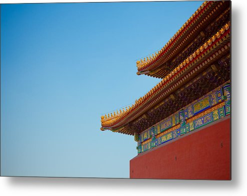 Horizontal Metal Print featuring the photograph Roof Of Forbidden City, Beijing, China by Pan Hong