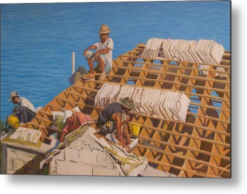 Bermuda Metal Print featuring the painting Roofworkers by Otto Trott