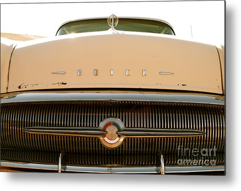 Car Metal Print featuring the photograph Rusted Antique Buick Car Brand Ornament by ELITE IMAGE photography By Chad McDermott
