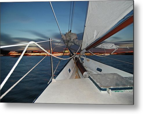 Sailing Metal Print featuring the photograph Sailing In The Bay by Jim and Kim Shivers