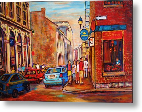 Streetscene Metal Print featuring the painting Saint Paul Street Montreal by Carole Spandau