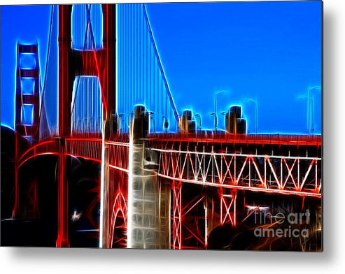 San Francisco Metal Print featuring the photograph San Francisco Golden Gate Bridge Electrified by Wingsdomain Art and Photography
