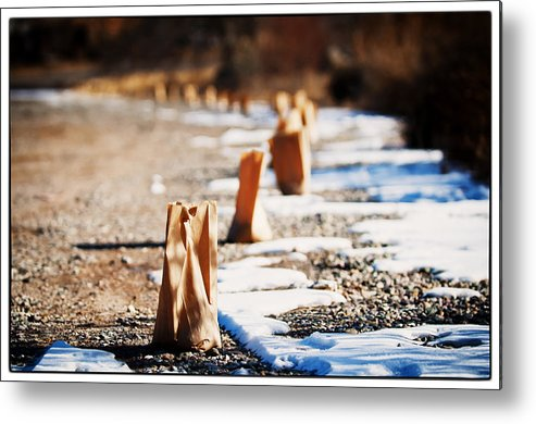 Taos Metal Print featuring the photograph Side Road Luminaries by Lisa Spencer