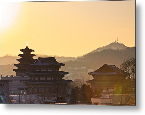 Horizontal Metal Print featuring the photograph Silhouette Of Palace by SJ. Kim
