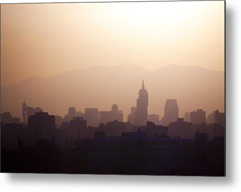 Horizontal Metal Print featuring the photograph Skyline Of Downtown Santiago De Chile, Chile by Jose Luis Stephens