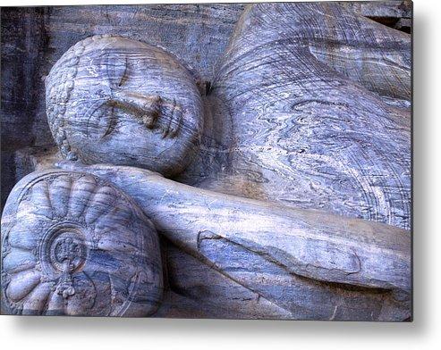 Horizontal Metal Print featuring the photograph Sleeping Buddha Statue by Poorfish