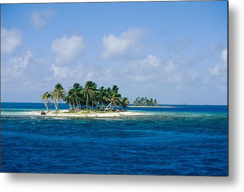 Central America Metal Print featuring the photograph Small Palm Tree Covered Islands In Blue by Wolcott Henry