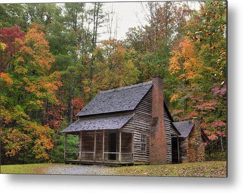 Smoky Mountains Metal Print featuring the photograph Smoky Mountains Log Capbin by Charles Warren