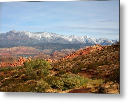 Desert Metal Print featuring the photograph Snowcapped Foothills by Marta Alfred