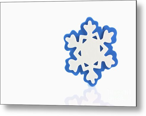 Background Metal Print featuring the photograph Snowflake With Reflection by Simon Bratt Photography LRPS