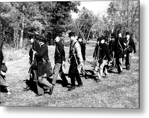 Usa Metal Print featuring the photograph Soldiers March Black And White by LeeAnn McLaneGoetz McLaneGoetzStudioLLCcom