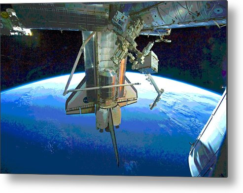 Space Shuttle Metal Print featuring the photograph Space Shuttle Atlantis At Iss by Padre Art