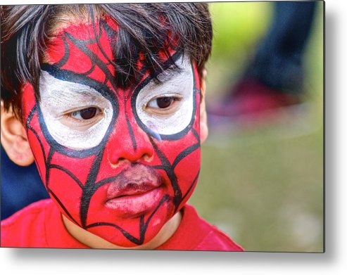 Face Painting Metal Print featuring the photograph Spiderboy by Dieter Lesche