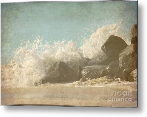 Textured Metal Print featuring the photograph Splashing Wave by Sophie Vigneault