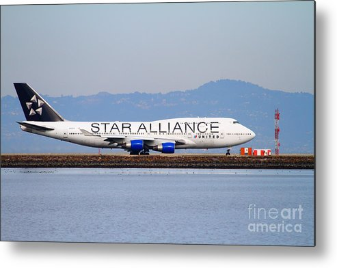 Airplane Metal Print featuring the photograph Star Alliance Airlines Jet Airplane At San Francisco International Airport Sfo . 7d12199 by Wingsdomain Art and Photography