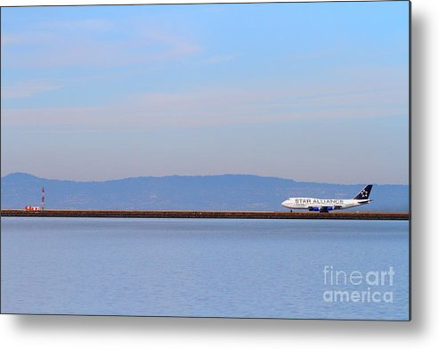 Airplane Metal Print featuring the photograph Star Alliance Airlines Jet Airplane At San Francisco International Airport Sfo . 7d12208 by Wingsdomain Art and Photography