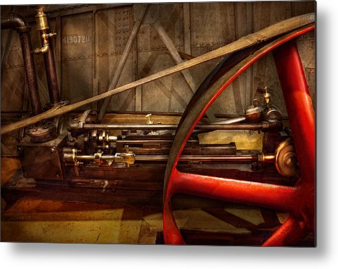 Steampunk Metal Print featuring the photograph Steampunk - Machine - The Wheel Works by Mike Savad
