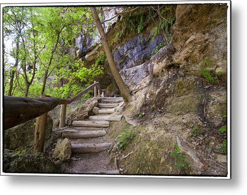 Hamilton Pool Metal Print featuring the photograph Steps To The Cave by Lisa Spencer