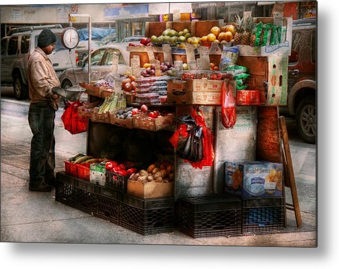 Chelsea Metal Print featuring the photograph Store - Ny - Chelsea - Fresh Fruit Stand by Mike Savad