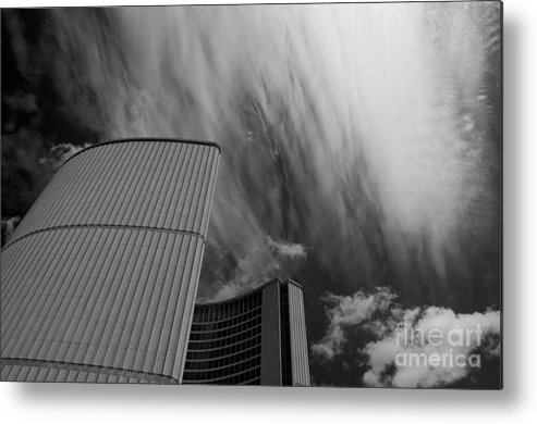 Clouds Metal Print featuring the photograph Streaks And Puffs Over City Hall by Gary Chapple