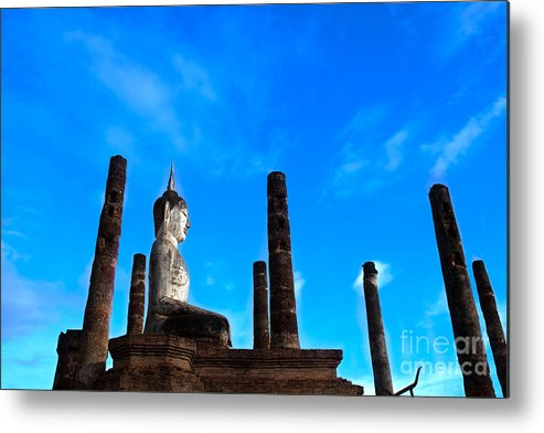 Ancient Metal Print featuring the photograph Stupa In Sukhothai. by Akkaradech PRAMOONSIN