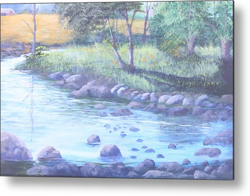Forest Landscape Scene Metal Print featuring the painting Summer River by Reggie Jaggers