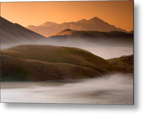 Horizontal Metal Print featuring the photograph Sunrise Castelluccio Di Norcia In Morning Fog by Michele Berti