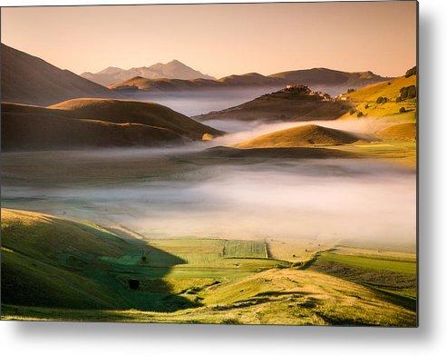 Horizontal Metal Print featuring the photograph Sunrise In Castelluccio Di Norcia In Morning Fog by Michele Berti