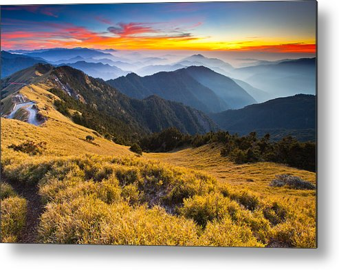 Horizontal Metal Print featuring the photograph Sunset , Hehuan Mountain , Taroko National Park , by Higrace Photo