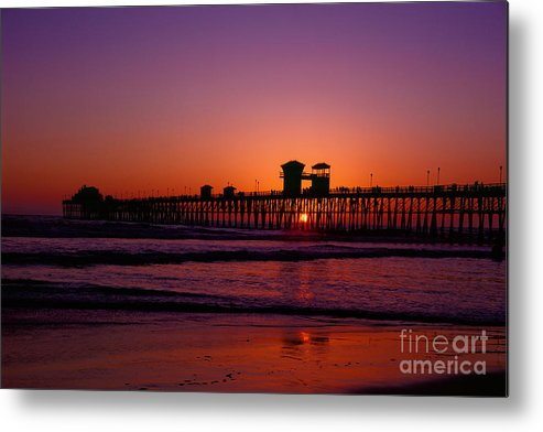 Oceanside Metal Print featuring the photograph Sunset At Oceanside Pier by Daniel Knighton