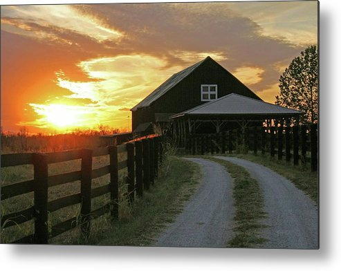 Sunset Metal Print featuring the photograph Sunset At The Farm by Christopher Hignite